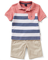 Nautica Little Boys 2T-4T Striped Short-Sleeve Polo Shirt and Flat-Front Shorts Set