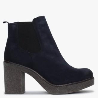 Alba Moda Navy Suede Chelsea Boots