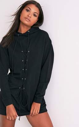 PrettyLittleThing Bexie Black Lace Up Hooded Sweater Dress
