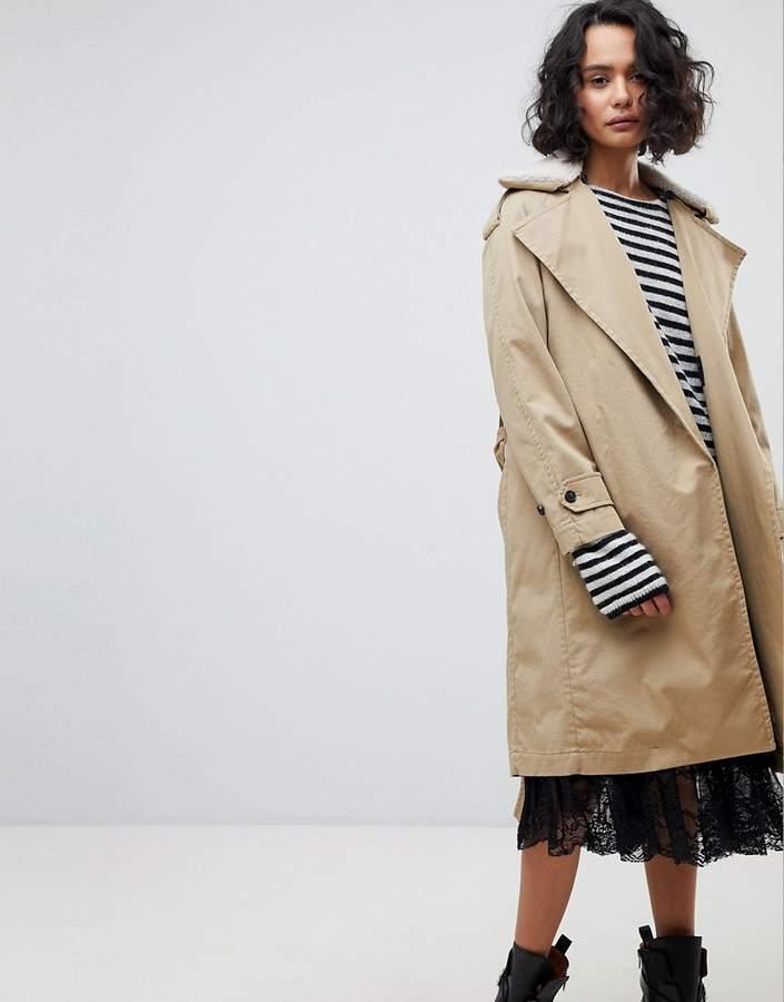 AllSaints Classic Trench with Fleece Collar
