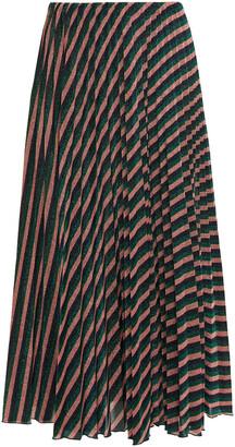 M Missoni Pleated Striped Metallic Crochet-knit Midi Skirt