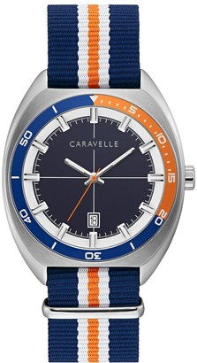 Caravelle by Bulova Men's Blue & Orange Nylon Strap Watch