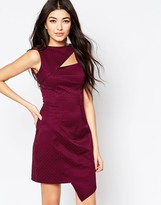 Liquorish Asymmetric Dress With Cut Out Detail In Jacquard