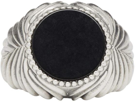 Emanuele Bicocchi Silver and Black Stone Ring