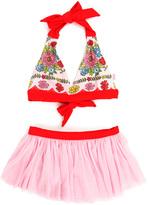 Floatimini Red Ribbon Floral Skirted Bikini - Toddler