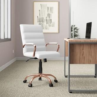 "Upper Squareâ""¢ Leaman Ergonomic Executive Chair Upper Squarea Upholstery Color/Frame Color: White/Rose Gold"