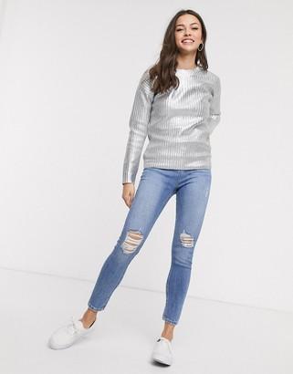 Glamorous jumper in metallic silver
