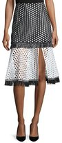 Alexis Elisa A-Line Eyelet Skirt, Black/White Circle