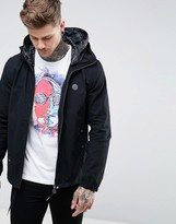 Pretty Green Beckford Jacket with Printed Paisley Hood in Black