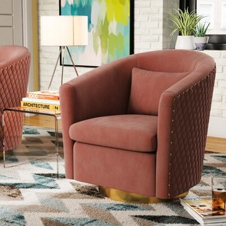 Safavieh Couture Skye Swivel Barrel Chair Upholstery: Dusty Rose