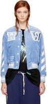 Off-White Blue Corduroy Diagonal Varsity Jacket