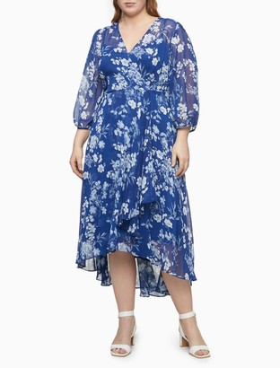 Calvin Klein Plus Size Floral Chiffon 3/4 Sleeve Wrap Dress