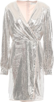 Sachin + Babi Wrap-effect Sequined Tulle Mini Dress