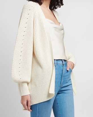 Express Pointelle Balloon Sleeve Cardigan