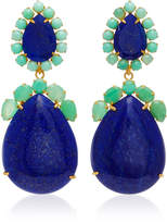Bounkit 14K Gold Plated Brass Lapis and Chrysoprase Earrings