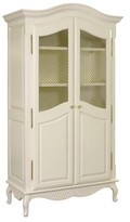 The Well Appointed House Grand Armoire with Wire Mesh Doors in Linen with Pink Accents
