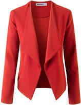 Doublju Women's Blazers RUST - Rust Pocket Open-Front Knit Blazer - Women