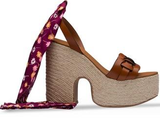 Miu Miu Floral Lace-Up Wedge Sandals