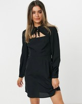 Thumbnail for your product : New Look tie neck ruffle detail mini dress in black