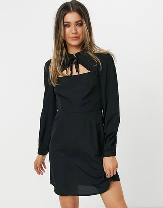 New Look tie neck ruffle detail mini dress in black