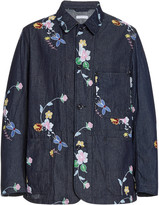Engineered Garments Floral-Embroidered Denim Jacket
