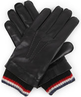 Thom Browne Stripe-trim leather and cashmere gloves