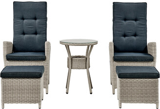Alaterre Haven All-Weather Wicker Set Of Two Outdoor Recliners With Ottomans And Round Glass Top Accent Table