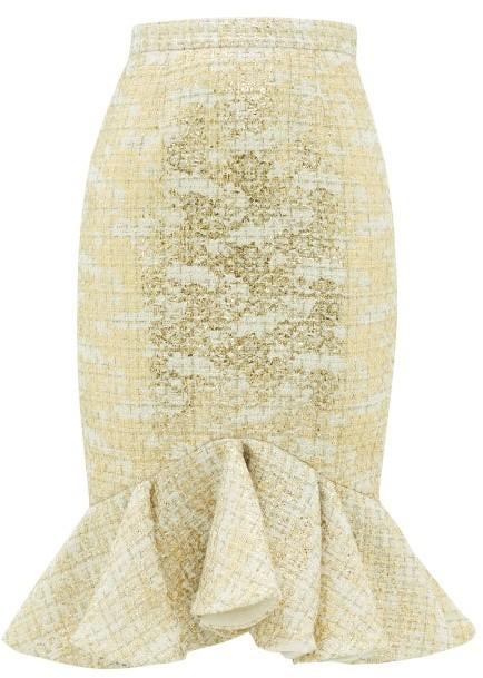 Rodarte Peplum-hem Metallic-tweed Skirt - Gold