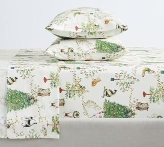 Pottery Barn Festive Cats Organic Cotton Sheet Set