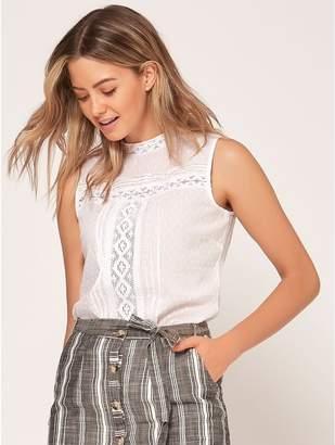 M&Co Petite lace high neck top