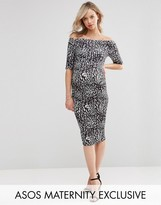 Asos Bardot Dress With Half Sleeve in Leopard