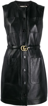Gucci sleeveless leather mini-dress