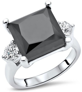 Overstock 14K White Gold 6 & 4/5ct Black Princess Cut 3 Stone Diamond Engagement Ring