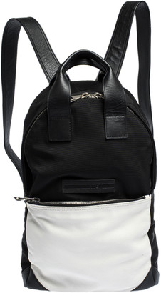 McQ Black/White Nylon and Leather Pocket Backpack