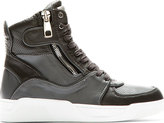 Dolce & Gabbana Grey Panelled Leather High-Top Sneakers