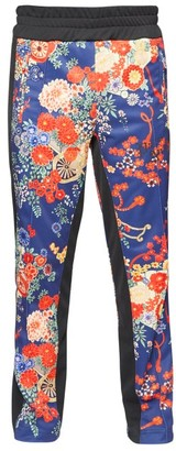 Palm Angels Side-stripe Floral-print Track Pants - Mens - Blue Multi
