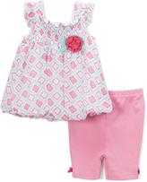Bon Bebe Pink Floral Bubble Dress & Capri Pants