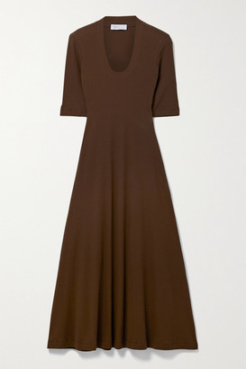 Rosetta Getty Cotton-jersey Midi Dress - Chocolate