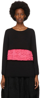 Comme des Garcons Black and Pink Embroidered Floral Sweater