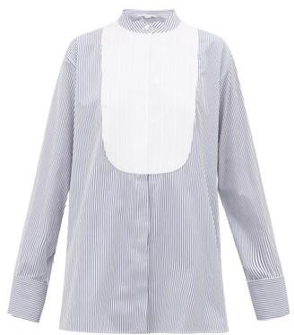 Stella McCartney Katlyn Pinstripe Collarless Cotton Shirt - Womens - Blue White