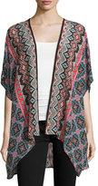 Tolani Noelle Tribal-Print Silk Kimono, Noire