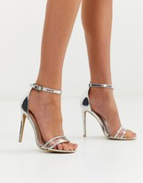 Glamorous silver clear strap barely there sandals