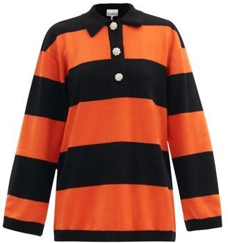 Ganni Crystal-button Striped Polo Cashmere Sweater - Black Orange