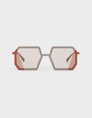 Charles & Keith Two-Tone Geometric Sunglasses