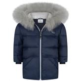 Gianfranco Ferre GF FerreBaby Boys Navy Down Coat With Fur Trim