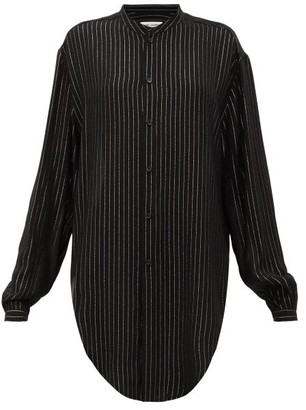 Saint Laurent Metallic-striped Pplin Shirt - Womens - Black Silver