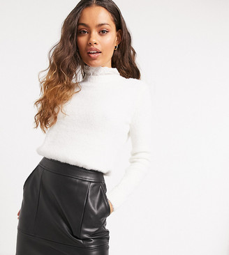 Vila Petite jumper with collar detail in white