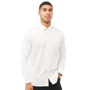 Ted Baker Mens Plateen Long Sleeve Satin Stretch Shirt White