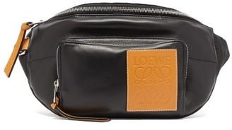 Loewe Anagram-patch Leather Belt Bag - Mens - Black