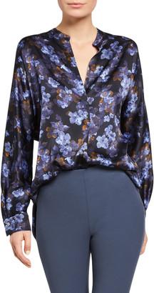 Vince Plumeria Blooms Long-Sleeve Silk Blouse